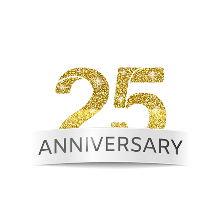 Abstract logo of anniversary. Banner 25th birthday golden color