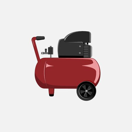 Vector red compressor for car painting and inflating of wheels. Tool for car service center. Stock Photo