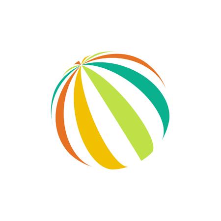 bounce: Isolated colorful beach ball logo. Unusual watermelon vector illustration Illustration