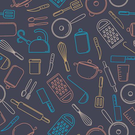 Seamless pattern of colorful kitchenware on dark background. Set of kitchen tools. Illustration