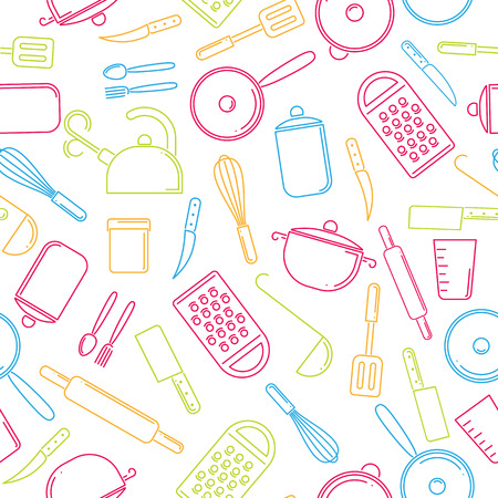 Seamless pattern of colorful kitchenware on white background. Set of kitchen tools. Illustration