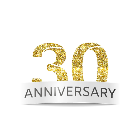 The thirty-year anniversary. Banner 30th birthday golden glitter color
