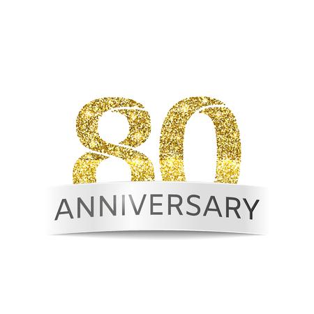 80 年の記念日。白い背景の上 80 誕生日キラキラ黄金色のバナー