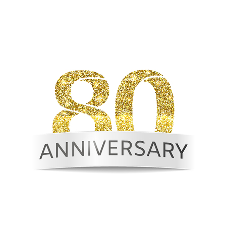 Eighty years anniversary. The banner of the 80th birthday golden glitter color on white background
