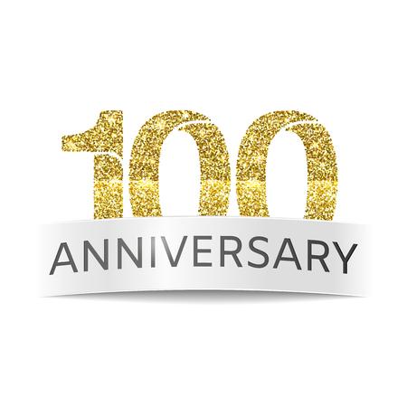 百年間の記念日。白い背景の上 100 誕生日キラキラ黄金色のバナー
