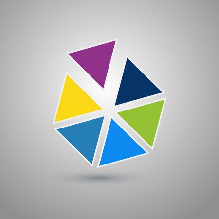 六角形の抽象的なロゴのデザイン テンプレートです。カラフルな創造的な六角形は記号のセグメントに分かれています。普遍的なベクトルのアイコ  イラスト・ベクター素材
