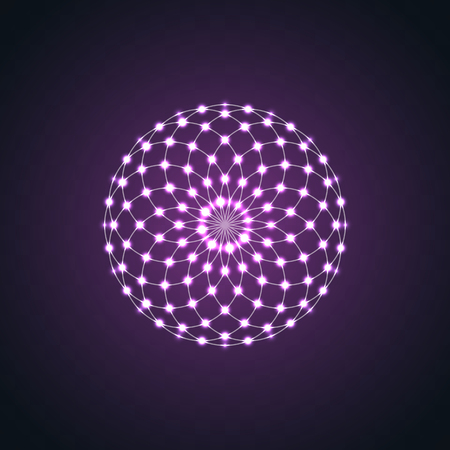 Isolated Neon glow symmetry element. Sacred Geometry. Abstract psychedelic vector logo vector Illustration