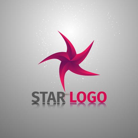 Beauty geometric stylized colorful logotype of starfish. Vector logo template.