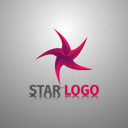 tour operator: Beauty geometric stylized colorful logotype of starfish. Vector logo template.