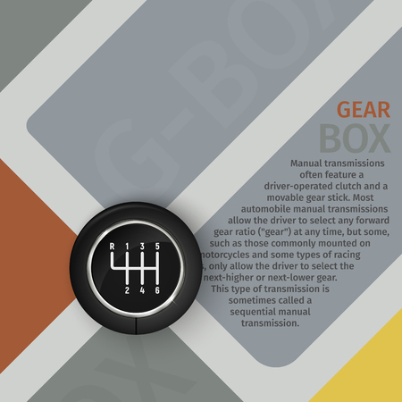 shifter: Brochure manual gearbox vector illustration. Top view of the gearbox on a stylish background Illustration