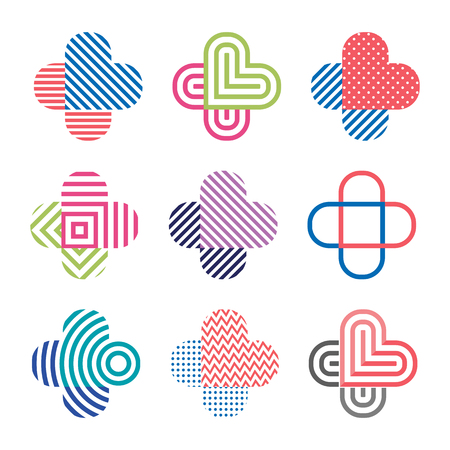 Vector set of decorative isolated logos crosses. Abstract simple elements for design.