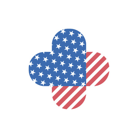Vector decorative isolated logo of Usa flag. Abstract simple element for design. Two hearts connected with each other