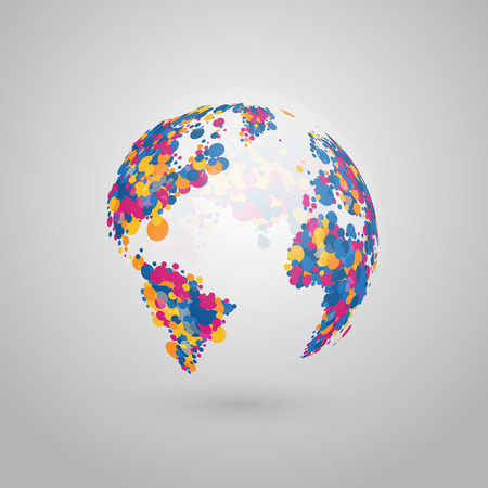 sociologia: Abstract vector globe of the Earth of colorful dots. Vectores