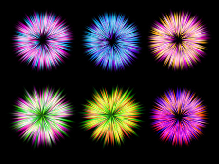 aster: Set of vector design elements with abstract flowers or lights of fireworks on background Illustration