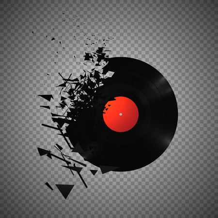 Vintage vinyl records broken and shattered into small pieces isolated vector illustration on transparent background Ilustração