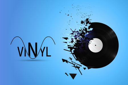 Vinyl record exploded into small pieces vector illustration. Music logo on blue background