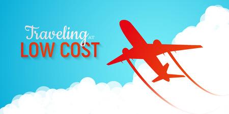 Banner anunciando companhias aéreas de baixo custo. Silhueta vermelha do avião que voa através de nuvens no fundo do céu azul ilustração vetorial. Modo de transporte moderno rápido e barato Ilustración de vector