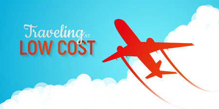 Banner advertising low cost airlines. Red silhouette of plane flying through clouds on blue sky background vector illustration. Fast and cheap modern mode of transport