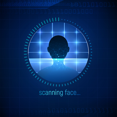 Isolated abstract face scanning technology. Face ID icon. The approval of the user or client authentication procedure