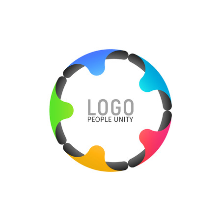 Tight ring of people isolated logotype. Five people holding hands formed a circle logo on light background. Vector illustration Illustration