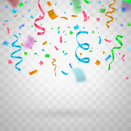 Colorful funny flying confetti on transparent background . Template for celebration vector illustration.