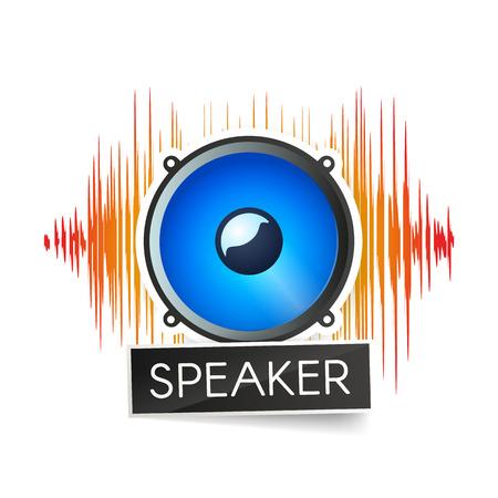 白い背景ロゴに青いスピーカーとオレンジ色の波形。ラジオ局やアプリベクトルイラストのロゴタイプ