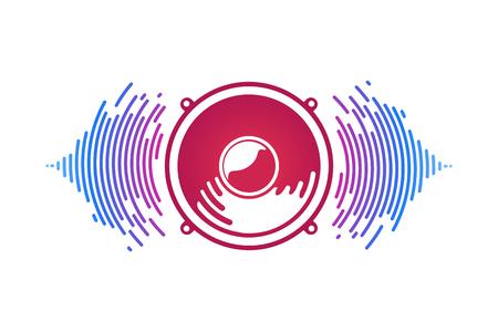 L'altoparlante e le onde sonore rosse hanno isolato l'illustrazione di vettore. Logo del potere vox Archivio Fotografico - 91248007