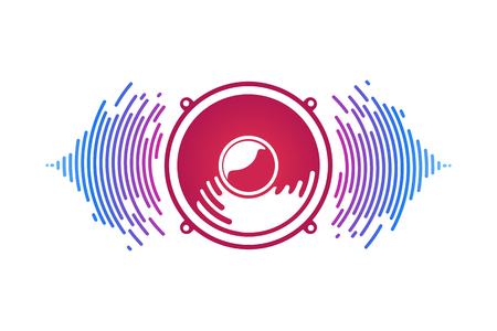 Red speaker and sound waves isolated vector illustration. Logo of vox power