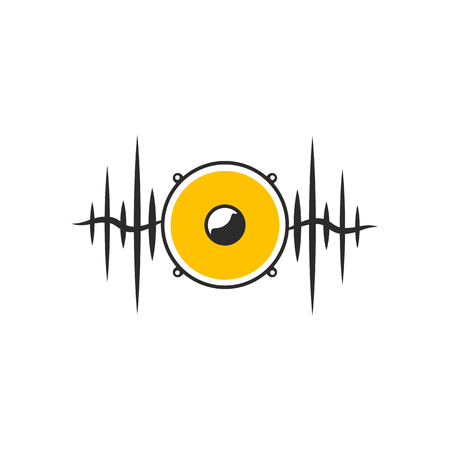 Stylised yellow speaker on dark waves. Minimalistic sound on white background. Vector illustration