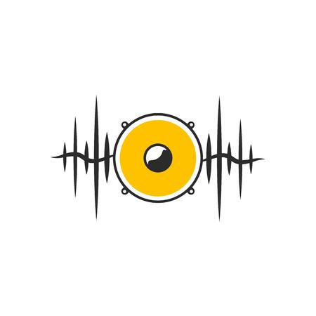 Stylised yellow speaker on dark waves. Minimalistic sound logo on white background. Vector illustration