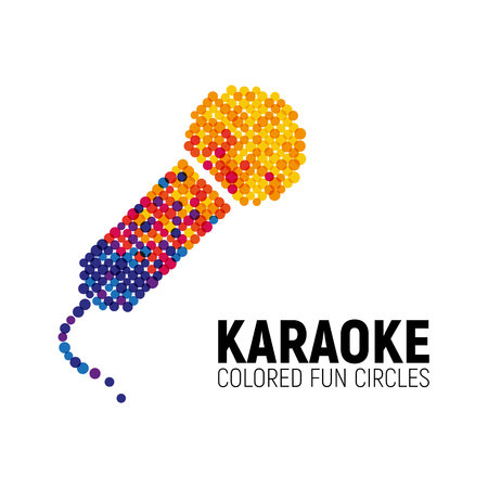 Microphone logo concept design made with colorful circles. Illustration