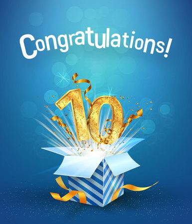 L'esplosione nella confezione regalo vola i numeri d'oro. Dieci anni anniversario su sfondo blu. Illustrazione di vettore di celebrazione di compleanno decimo modello Vettoriali