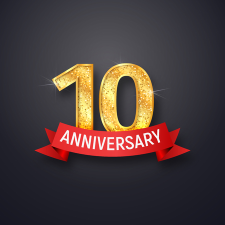Golden number tenth anniversary with red ribbon on dark background. Ten years isolated template of celebration vector illustration Illustration