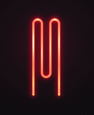 Abstract heater element for washer. Neon red logo on transparent dark background vector illustration