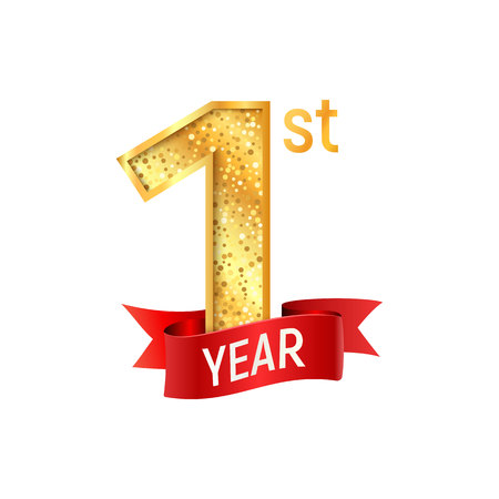 First year celebration template. Golden number one with red ribbon on white background vector illustration Illustration