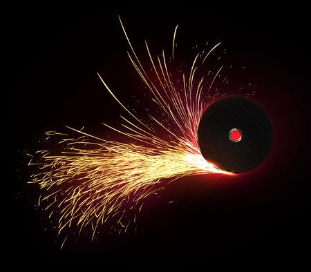 Isolado gire o disco abrasivo com as faíscas no fundo escuro. Tecnologia e ilustração industrial. Ilustración de vector