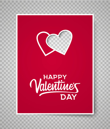 Valentine s day card template on transparent background. Two hearts on red paper vector illustration