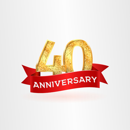 The fortieth anniversary golden logo with red ribbon vector illustration. Number fourty template