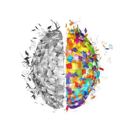 Abstract human brain with colorful right part and monochromicorn left part . Visual logo of mind isolated vector illustration Çizim