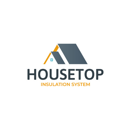 House roof logotype.Minimalistic logo for building or industrial company. Isolated vector illustration Stockfoto - 93458352