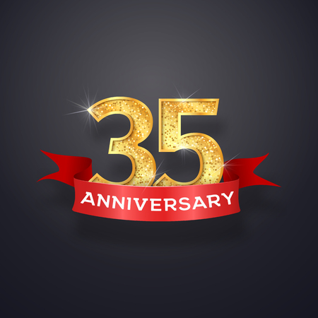 Thirty-five anniversary inscription template. 35th years celebrating golden numbers with red ribbon vector design elements.
