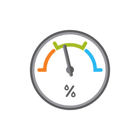 Flat icon of hygrometer isolated vector illustration. Logo device for measuring humidity