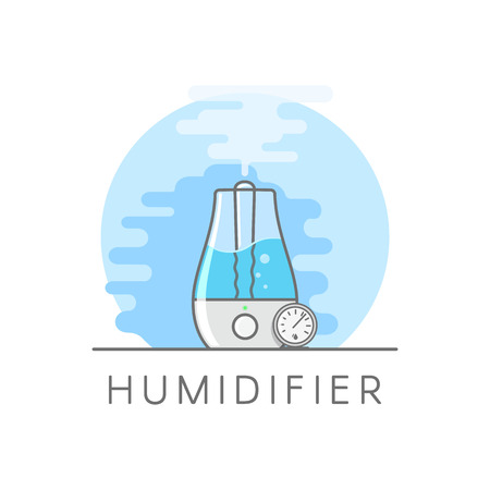 Humidifier and hygrometer in flat style. Vaporizer of water with ultrasonic method. Flat vector illustration on white background.