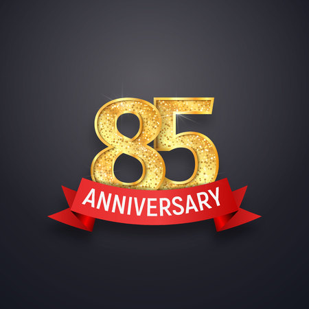 85th anniversary template. Eighty-five years celebrating golden numbers with red ribbon vector design elements Stock Illustratie
