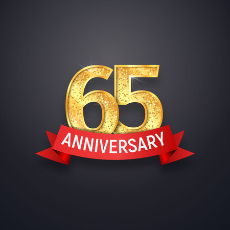 Sixty-five anniversary template. 65th years celebrating golden numbers with red ribbon vector design elements