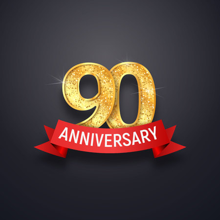 Ninety anniversary icon template. 90th years celebrating golden numbers with red ribbon vector design elements Illustration