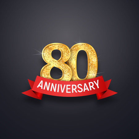 80 th years anniversary icon template. Eightieth celebrating golden numbers with red ribbon vector design elements Illustration
