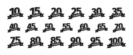 Collection of isolated anniversary logo numbers with ribbon vector illustration