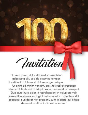 Carte d'invitation pour l'illustration vectorielle anniversaire 100 ans. Modèle de bannière de vacances avec bande rouge et archet Banque d'images - 94696116