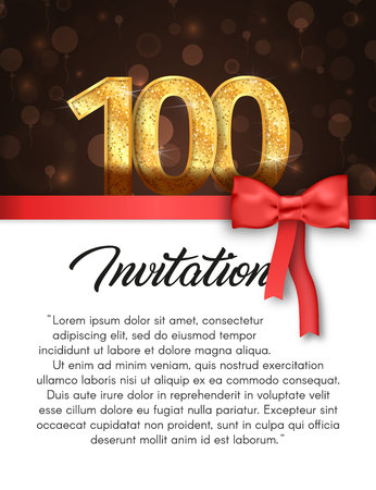 Invitation card for 100 years anniversary vector illustration. Template of holiday banner with red stripe and bow